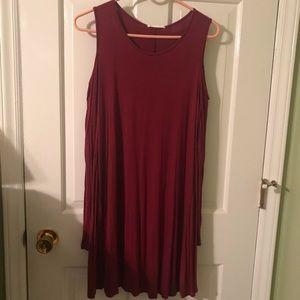 Dresses & Skirts - Red long sleeve cold shoulder dress!